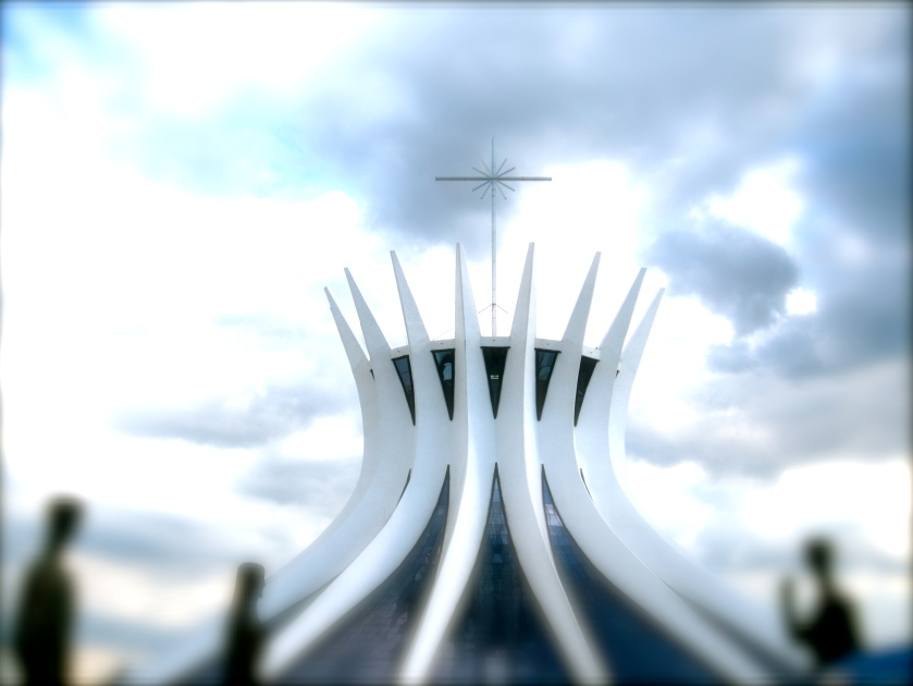 The illusion of two hands together reaching up to the sky creates the Metropolitan Cathedral of Brasilia