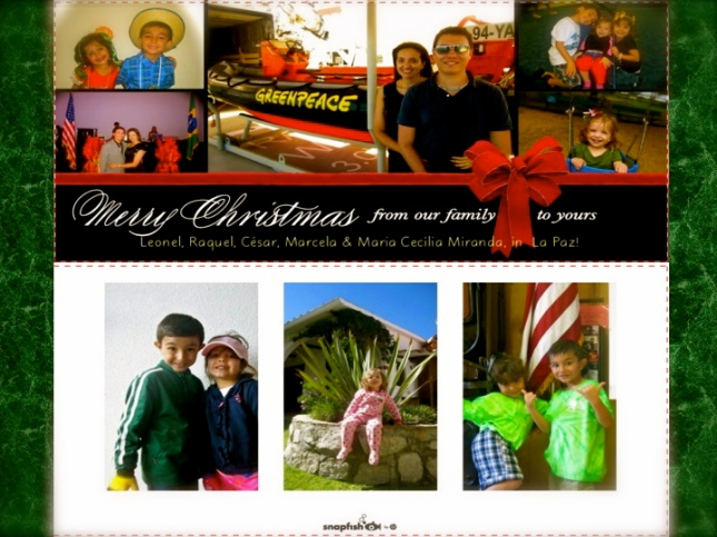 Front & BackOur Family's 'Happy Holidays' Card