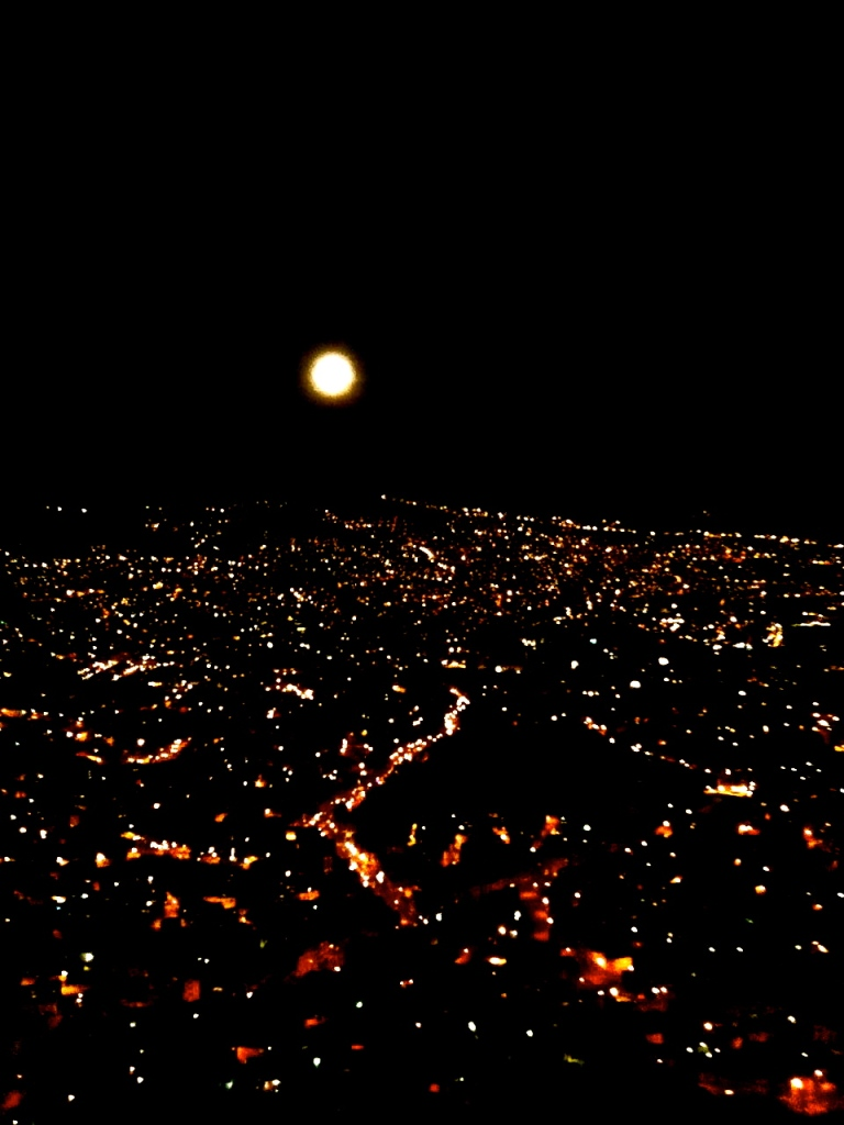 The city of La Paz, at night, seen from El Alto.