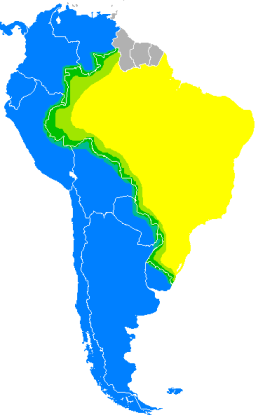 "In green, the areas where ""Portunol""  is spoken in South America. Image downloaded from wikipedia.com"