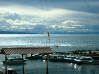 Sunset by the lake Titicaca