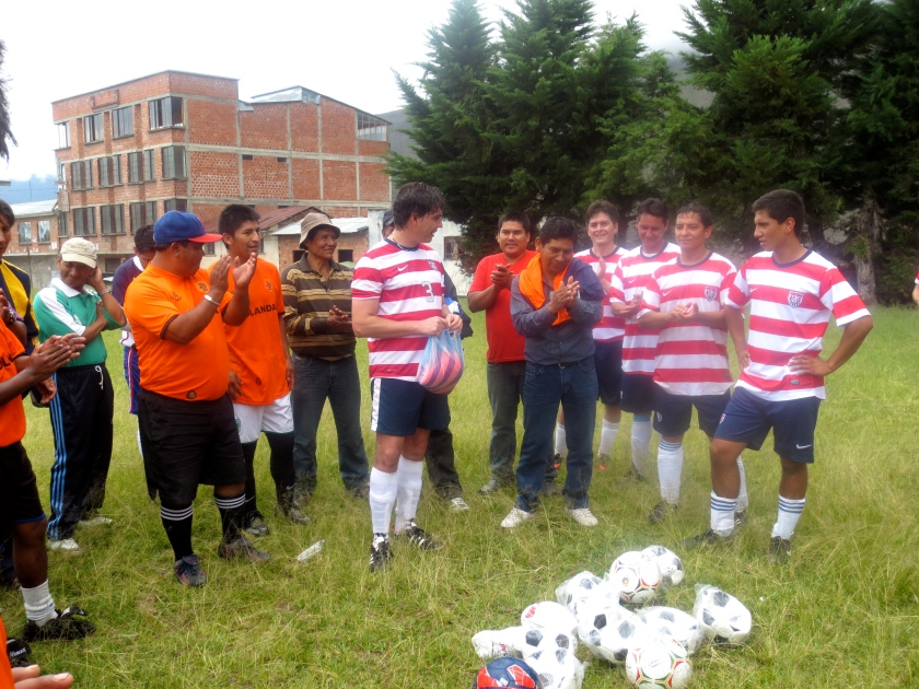 PS: I'm proudly married to the team's captain... :o Community Outreach while exercising his passion for soccer!